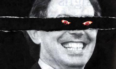 An image from the infamous Tory election campaign poster depicting Tony Blair as you know who