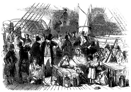 Immigranti irlandesi in attesa per la barca 1849 Illustrated London News.