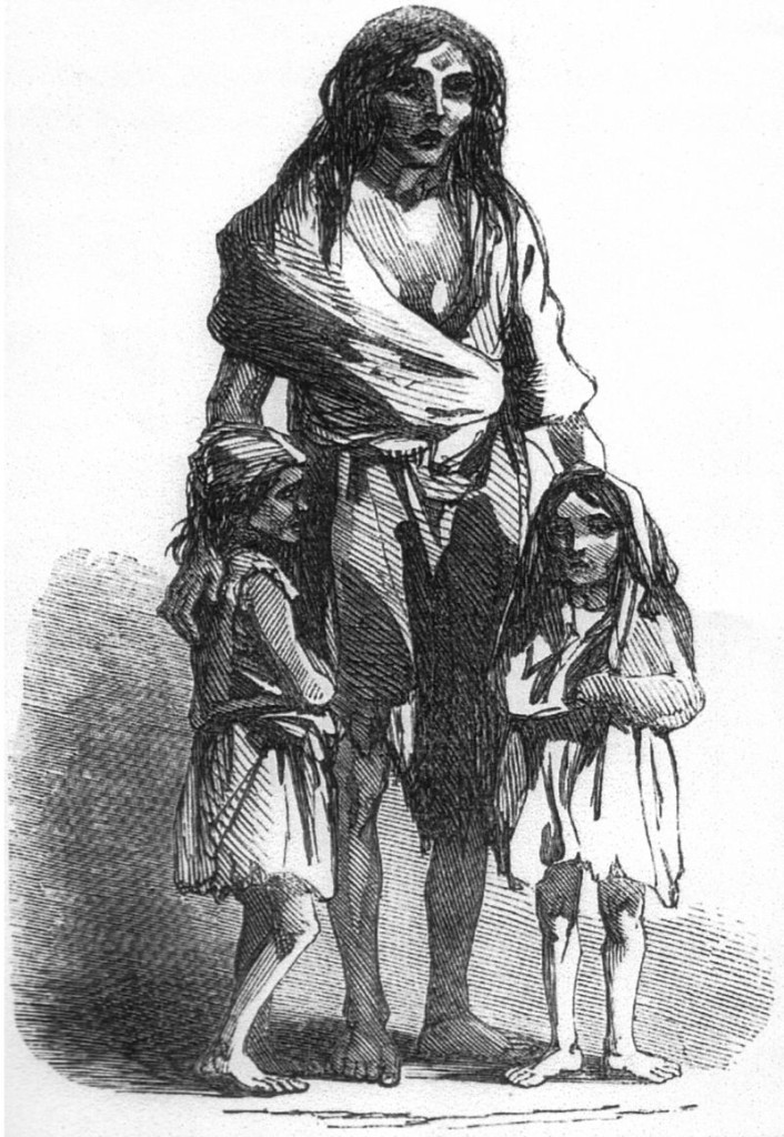 Bridget O'Donnel ei suoi bambini affamati, 1849 Illustrated London News.